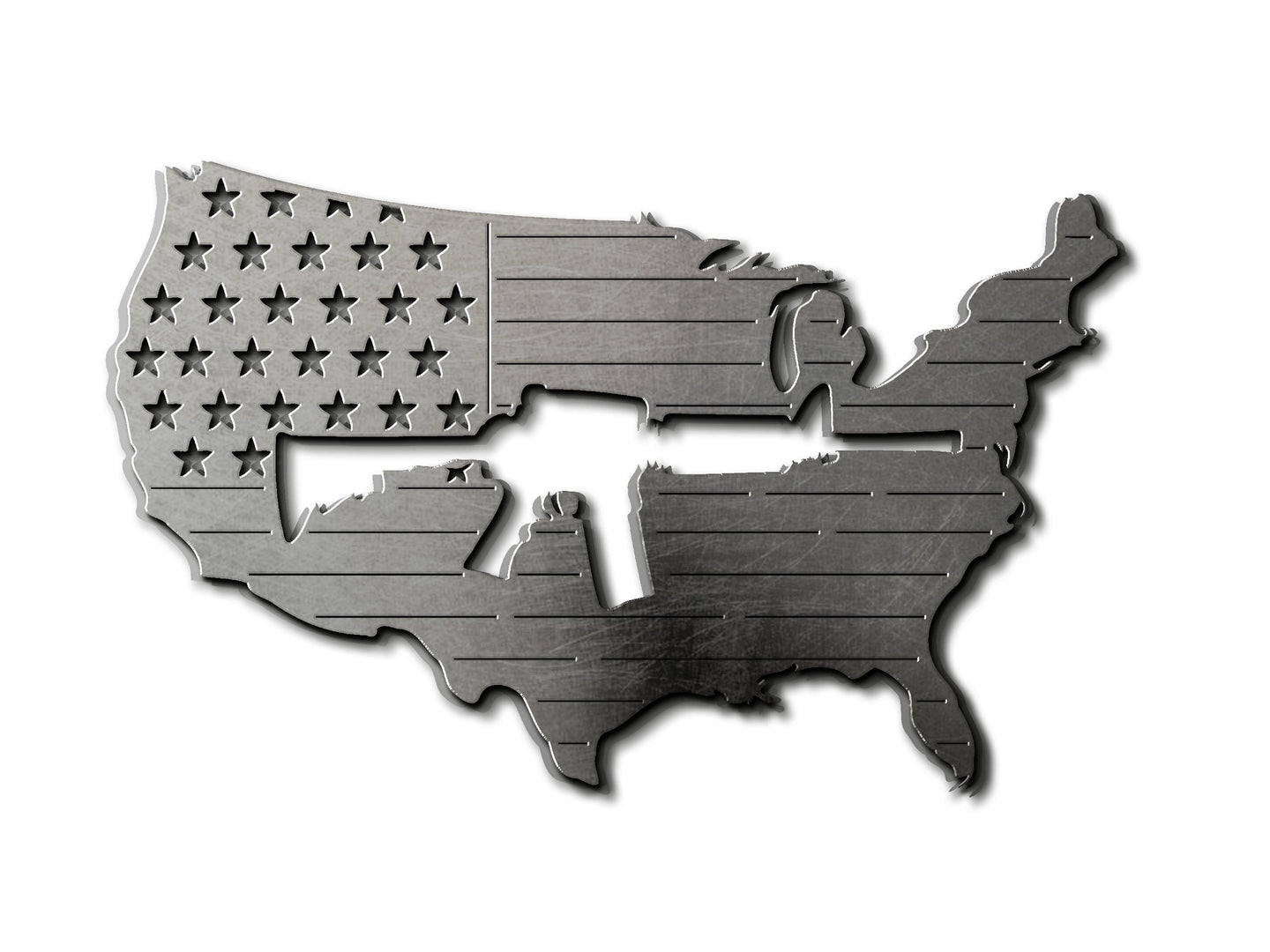 USA Shaped American Flag AR-15 Metal Wall Gun Art Patriotic 24