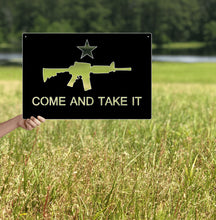 Load image into Gallery viewer, Come and Take it AR-15 Metal Flag Custom Gun Metal Wall Art 24""