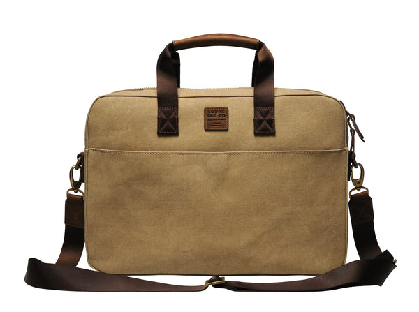 """Zurich"" Canvas Briefcase / Light Sand"