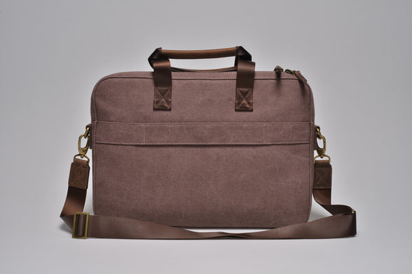 """Zurich"" Canvas Briefcase / Brown"