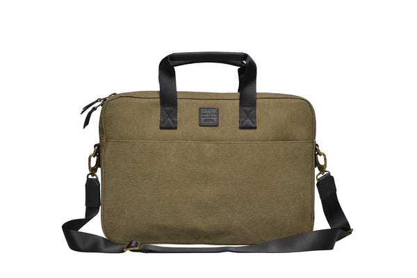 """Zurich"" Canvas Briefcase / Olive"