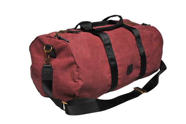 """Stockholm"" Canvas Duffle Bag / Bordeaux"
