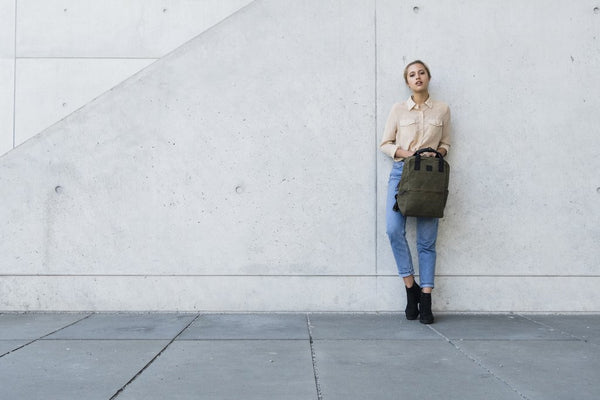 """Vienna"" Canvas Carry Backpack / Olive"