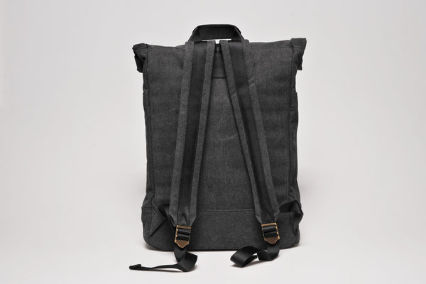 """Portland"" Canvas Rolltop Backpack / Anthracite"