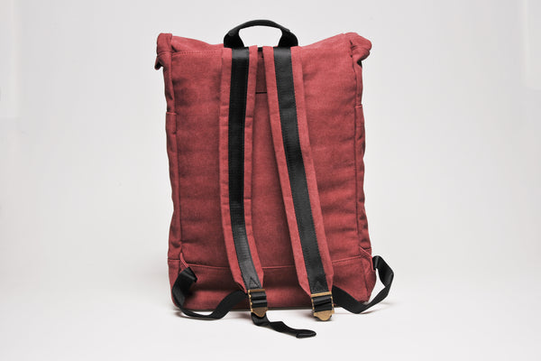 """Portland"" Canvas Rolltop Backpack / Bordeaux"