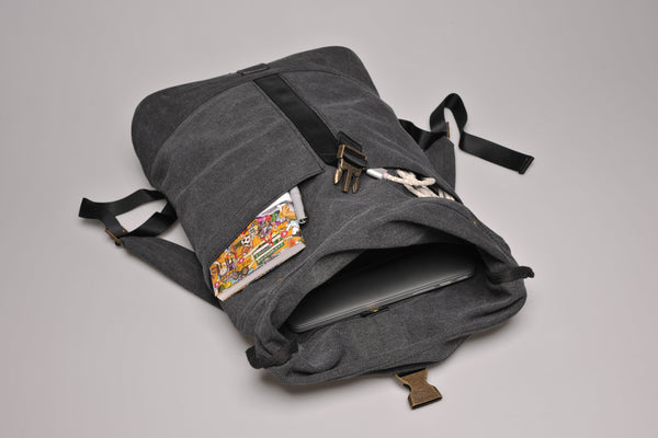 """Portland"" Canvas Rolltop Backpack / Brown"