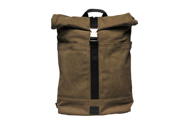 """Portland"" Canvas Rolltop Backpack / Olive"