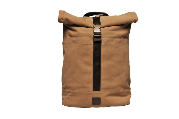 """Portland"" Canvas Rolltop Backpack / Sand"