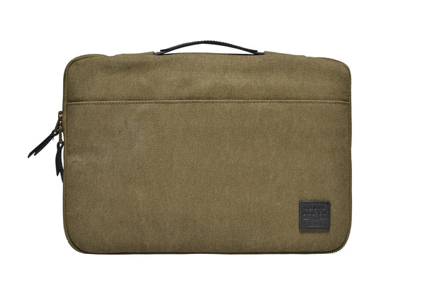 """Dublin"" Canvas Macbook Sleeve 13"" / Olive"