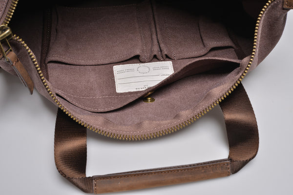 """Barcelona"" Canvas Tote Bag / Brown"
