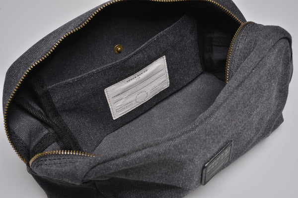 """Paris"" Canvas Wash Bag / Anthracite"