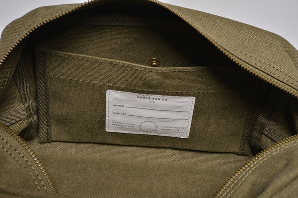"""Paris"" Canvas Wash Bag / Olive"