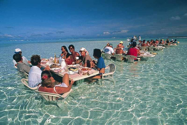 Dinner on a Sandbar in Bora Bora