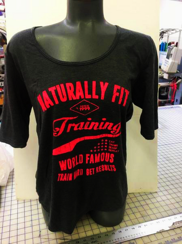 "Naturally Fit, ""Training World Famous"", Women's T-Shirt- Black & Pink"