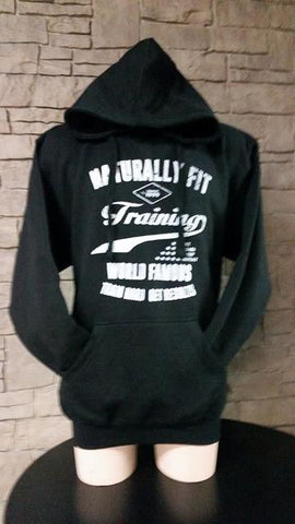"Naturally Fit, ""Training World Famous"", Men's Thick Pull Over Hoodie- Black & White"