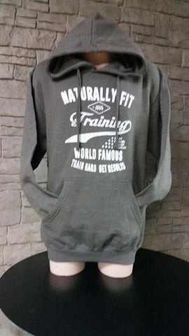 "Naturally Fit, ""Training World Famous"", Men's Thick Pull Over Hoodie- Grey & White"