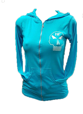 ***New*** Naturally Fit Ladies Skull Thin Zip Hoodie