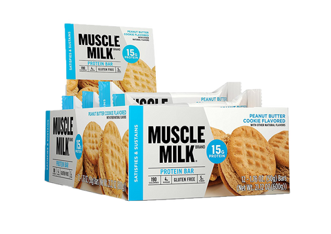 Muscle Milk BLUE Protein Bar - Box of 12 Bars, 15g protein