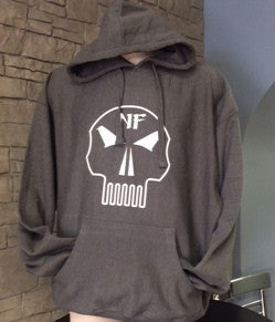 Naturally Fit * Skull, Thick Pull-Over Hoodie - Grey & White