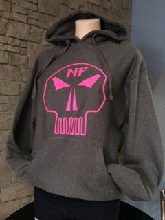 Naturally Fit * Skull, Thick Pull Over Hoodie - Grey & Pink