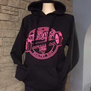 Naturally Fit * Healthy Mind/Healthy Body, Thick Pull Over Hoodie - Black & Pink