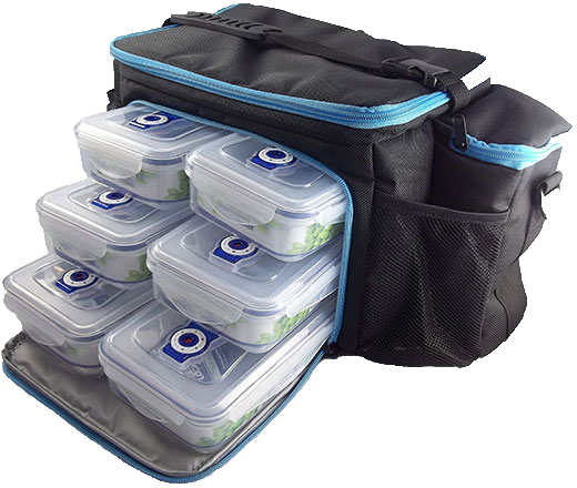Naturally Fit, 6 Meal Lunch Bag- Black/Blue