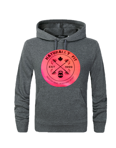 **New Naturally Fit Ladies Pull Over Hoodie-Dark Grey & Pink
