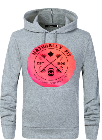 **New Naturally Fit Ladies Pull Over Hoodie-Light Grey & Pink