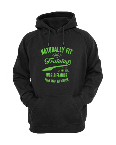 "Naturally Fit, ""Training World Famous"", Men's Thick Pull Over Hoodie- Black & Green"