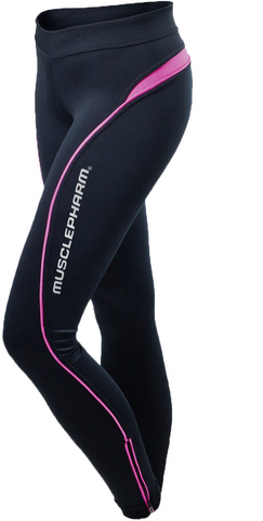 MusclePharm Womans Leggings-Black With Pink