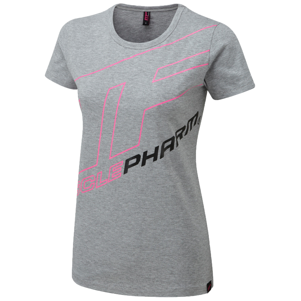 MusclePharm Womans T-Shirt-Grey With Pink