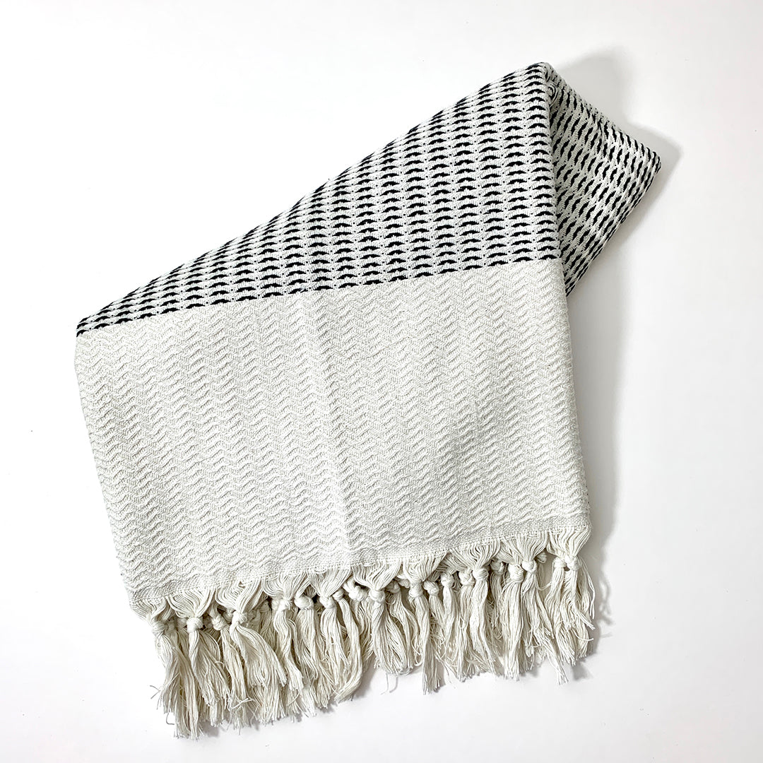 Foke Handwoven Black & Cream Throw