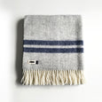 Herringbone Pure New Wool Blanket in Grey & Navy