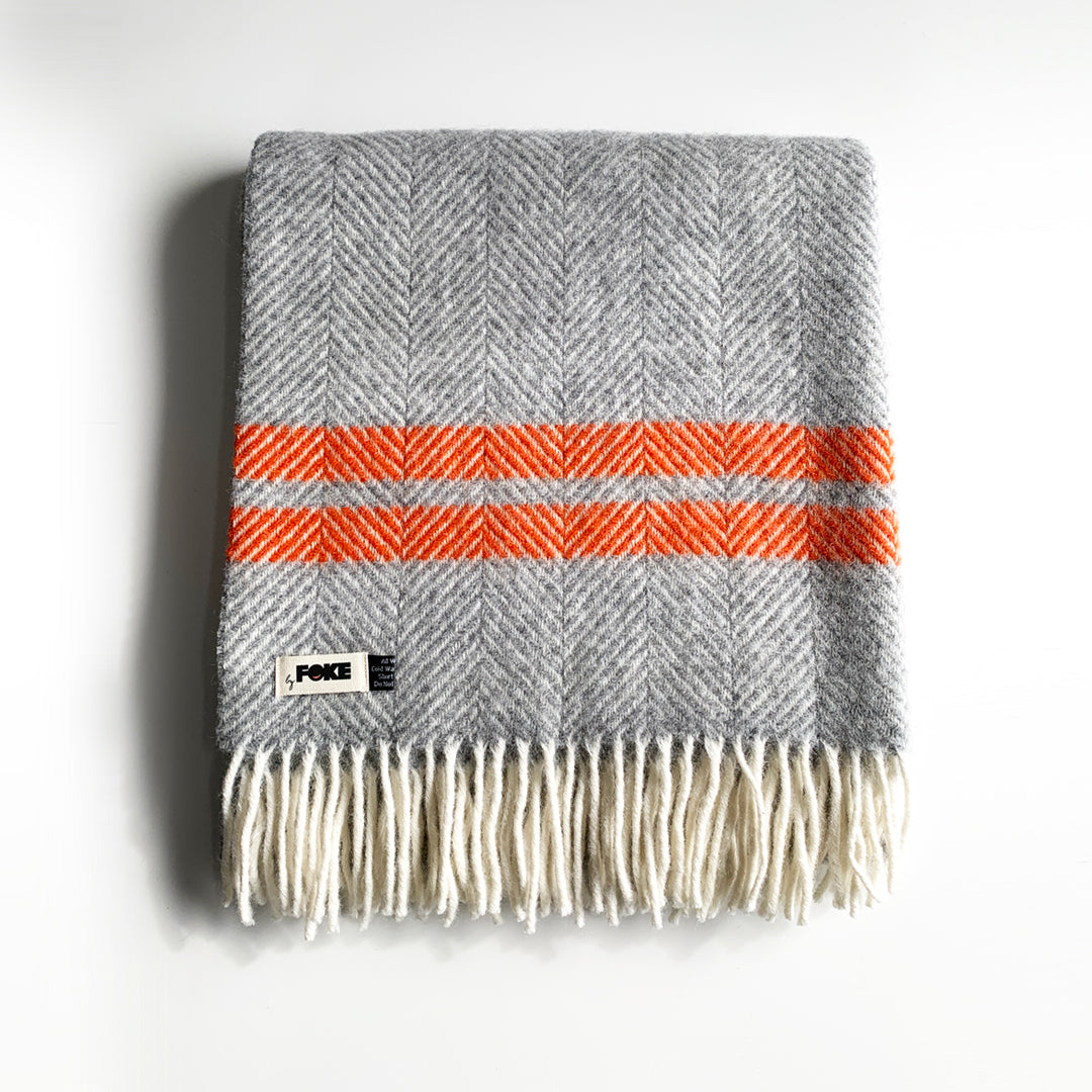 Herringbone Pure New Wool Blanket in Grey & Pumpkin