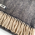 Herringbone Pure New Wool Blanket in Black & Putty