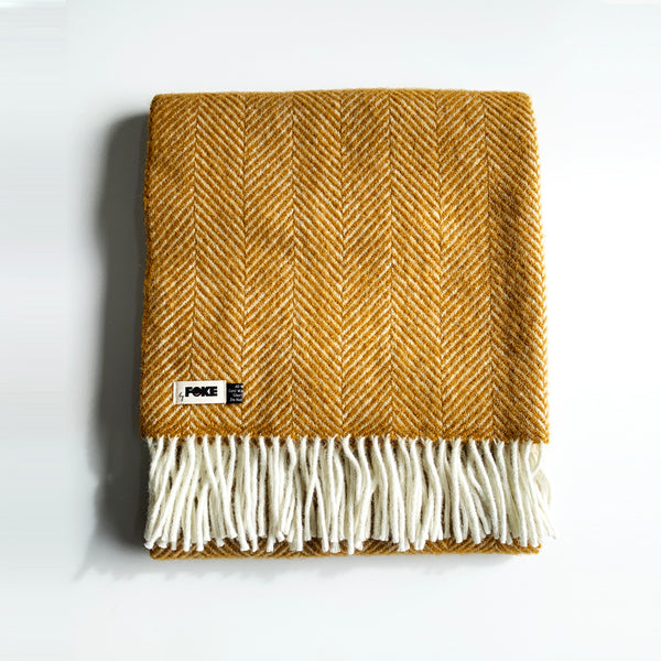 Herringbone Pure New Wool Blanket in Mustard