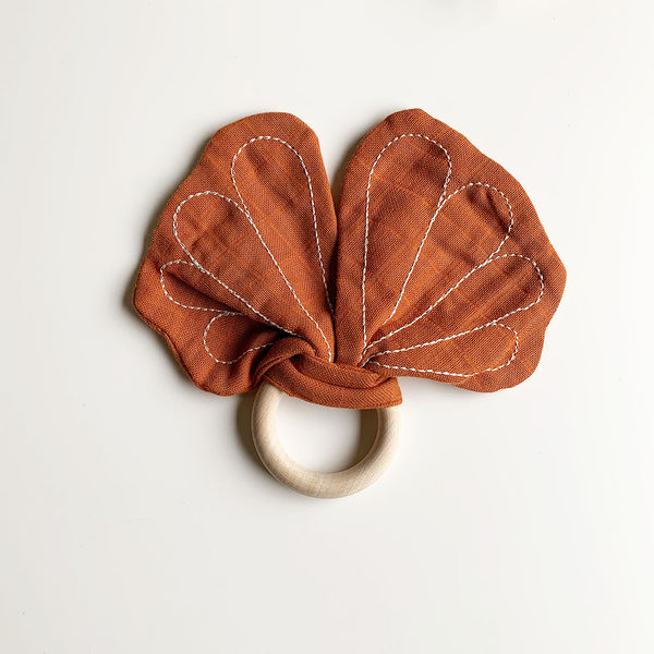 Organic Teether Butterfly in Cinnamon
