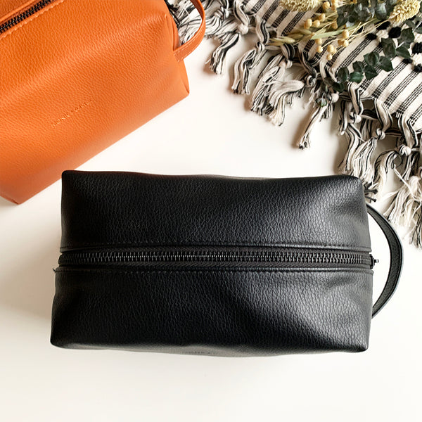 Vegan Leather Wash Bag by Monk & Anna