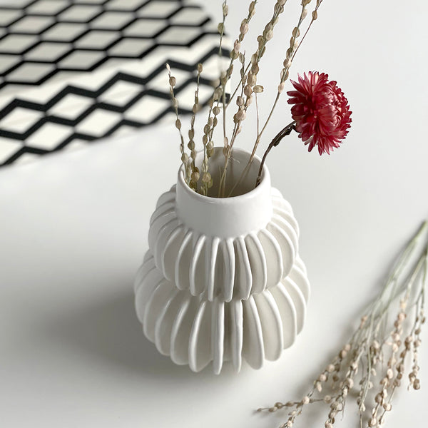 White Stoneware Pleat Vase