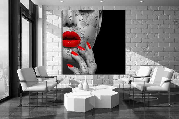 Gloss Red lip Canvas