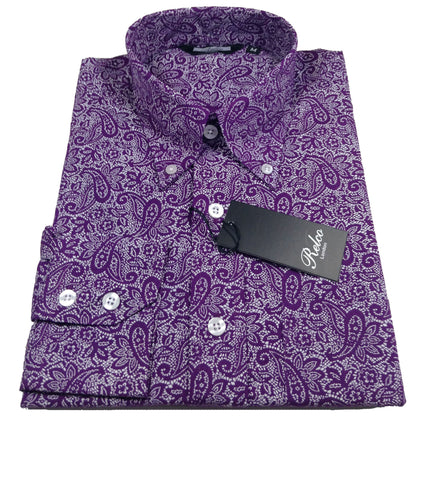 Relco Button Down Long Sleeve Shirt - Paisley Purple/White