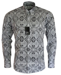 Relco Button Down Long Sleeve Shirt - Paisley BV15 White