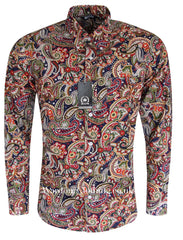 Relco Button Down Long Sleeve Shirt - Paisley PS9 Navy
