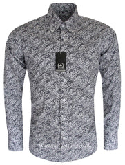 Relco Button Down Long Sleeve Shirt - Paisley PS10 White / Navy