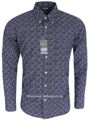 Relco Button Down Long Sleeve Shirt - Paisley PS11 Navy