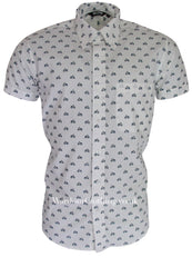 Relco Button Down Short Sleeve Shirt - Scooter Print White