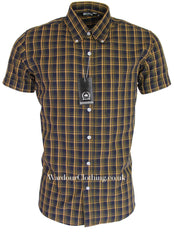 Relco Button Down Short Sleeve Shirt - Navy Check CK24