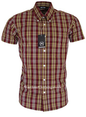 Relco Button Down Short Sleeve Shirt - Burgundy Check CK25