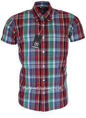 Relco Button Down Short Sleeve Shirt - Multi Check CK26