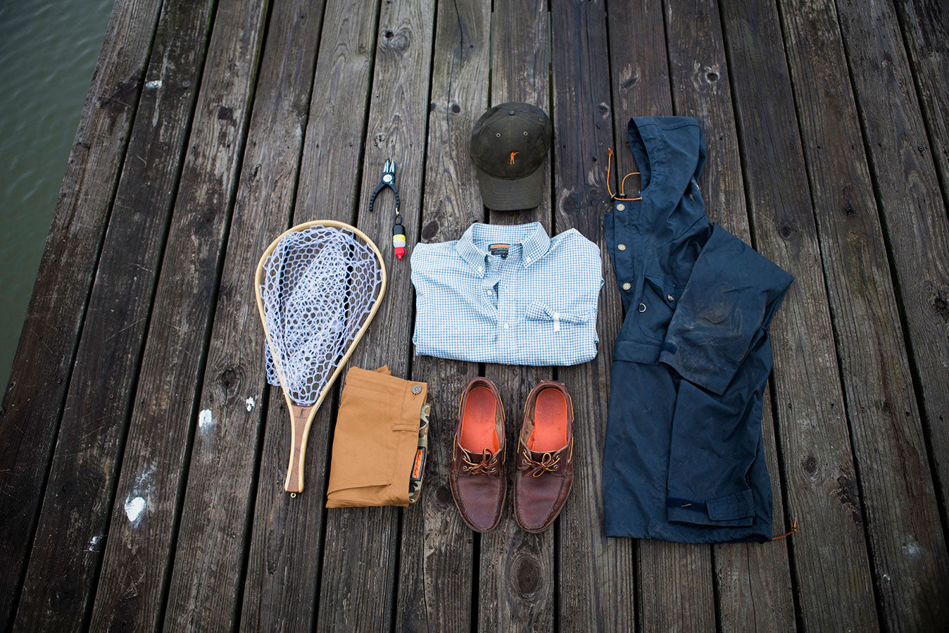 Premium Waxed Cotton Hat | The Anglers Shirt, Wahconah | The Anorak, Steel Blue | The Traveler Boat Shoe, Carolina Brown | The 6 Point Duck Cotton Short, Caramel